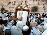 Celebrating the Torah at the Western Wall.