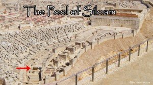Pool of Siloam is a rock-cut pool on the southern slope of the City of David, the original site of Jerusalem, located outside the walls of the Old City to the southeast. The pool was fed by the waters of the Gihon Spring, carried there by two aqueducts. It is mentioned in both the Old and New Testaments.