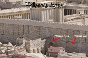 Wilson's Arch is the modern name for the ancient stone arch whose top is still visible today, where it is supported against the Northeast corner of Jerusalem's Western Wall, so that it appears on the left to visitors facing the Wall. It once spanned 42 feet (13 m), supporting a road that continued for 75 feet (23 m) and allowed access to a gate that was level with the surface of the Temple Mount during the time of Jesus.