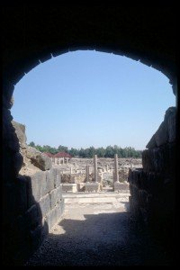 Beit She'an view through Roman theater.