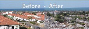 """Gush Katif, before and after the """"disengagement"""" when Israel left the Gaza Strip in 2005. Read more: https://lunchtimeprayer.com/gush-katif-and-evacuation-of-gaza/"""