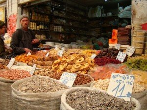 Dried fruit sold in the shuk, the outdoor market.