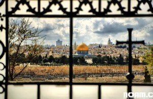 View of the Temple Mount from the Church of Dominos Flevit. Photo: Noam Chen