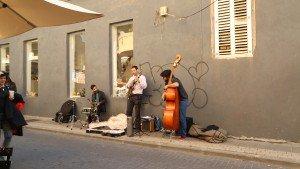 Street musicians in Jaffa port.