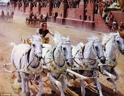 The danger of the chariot race was made famous by a scene in Ben Hur.