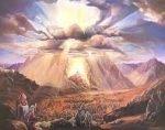 Moses receiving the Torah on Mt. Sinai