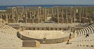 Located 60 miles from Tripoli in Libya, Leptis Magna was a strong ally of Rome and the birthplace of Roman emperor Septimius Severus. The amphitheatre was built in AD 56.