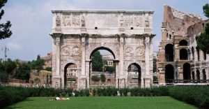 This triumphal arch (AD 312) celebrates the emperor Constantine and incorporates many previous works of Roman art.