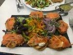 Delicious salmon toast lunch in Tel Aviv!